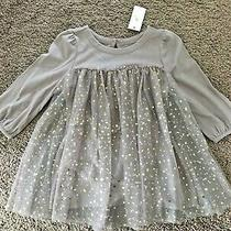 New Baby Gap 2t Girls Soft Knit L/s Gold Stars Sparkly Tulle Taupe Party Dress Photo