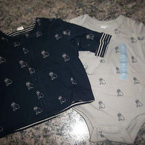 New Baby Gap Boys Size 3-6 Months Shirt & Jacket Bulldog Dog Stripes Clothing Photo