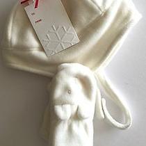New Baby Gap Girl's Newborn 6-12 Mo Hat and Mitten Set Adorable Rabbit Mittens Photo
