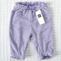 New Baby Gap Girls 0-3 Mos Purple Striped French Terry Pants Photo