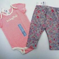 New Baby Gap Girls Floral Leggings Pants Logo Stripped Pink Bodysuit Romper 3-6m Photo