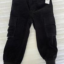 New Baby Gap Toddler Boys 2 Yrs Black Corduroy Cargo Pants Cozy Lined Warm Photo