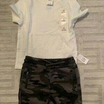 New Baby Gap Toddler Boys 2t White Shirt Pocket Camouflage Cargo Shorts Photo