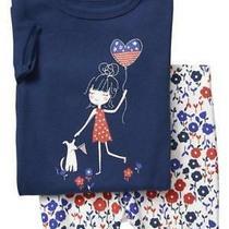 New Baby Gap Toddler Girls 12-18 Mos Americana Floral Shorts Cotton Pajamas  Photo
