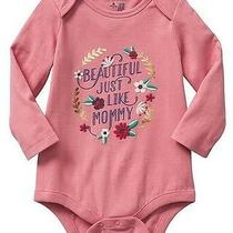 New Baby Gap Toddler Girls 12-18 Mos Beautiful Like Mommy Pink Cotton Bodysuit Photo