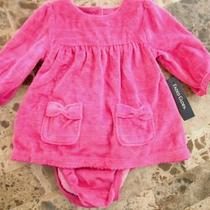New Baby Girls 2 Piece Pink Velour Dress Fancy Winter Sparkle Nice 3-6 Months Photo