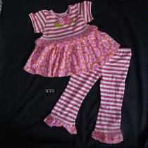 New Baby Lulu Fuchsia Flower Kinsey Ruffle Top & Leggings Sz 3t Retail 64 Soft Photo