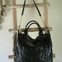 New Badgley Mischka Black Leather L Hobo/tote Bag / X-Body W Golden Studs Photo