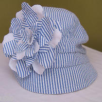 New Badgley Mischka Blue White Summer Striped Newsboy Cap Gatsby Hat O/s 68 Photo