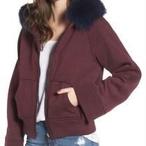 New Bagatelle City Burgundy Hoodie Sweatshirt Fox Fur Collar Women Size M 295 Photo