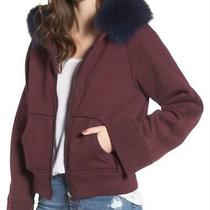 New Bagatelle City Burgundy Hoodie Sweatshirt Fox Fur Collar Women Size M 295 Photo