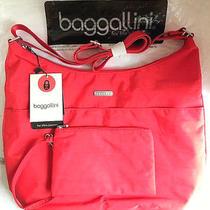 New Baggallini Hobo Crossbody  Rfid Wristlet Coral Orange Nylon Luggage Sleeve Photo