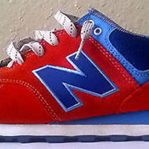 New Balance 574 Size 12 Red/white/blue Running Shoes Medium D Yacht Club Photo