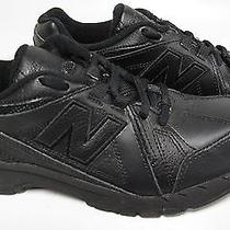 New Balance 624 Boy's Leather Running Shoe All Black Youth Size Us 4.5 M Photo