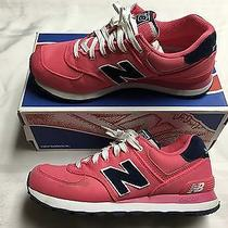 New Balance Classics 574 Blush Pink/navy Blue Pique Polo Sneakers Women's 8.5 Photo