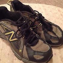New Balance Kids Kj814 Size 7 Trail Running Shoes Sneakers Brown Yellow Boy Photo