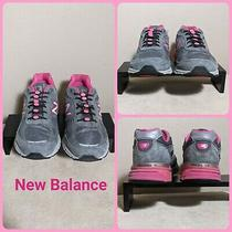New Balance Women Size 9.5 Athletic Shoe Made in the u.s.a. Grey & Pink Sneaker Photo