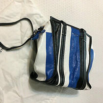 New Balenciaga Bazzaar Tote Blue/black Lamb Bag With Dust Bag. Photo
