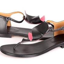 New Balenciaga Paris Black /pink Leather Sandals Flats Shoes 39/9 Photo