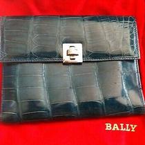 New Bally Italy Alligator Crocodile Bag Lamb Leather Cell Phone Travel Case 3k Photo