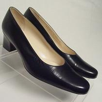 New Bally Sharna Women 7.5-C Wide Navy Blue Leather Pumps Heels Shoes Photo
