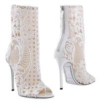 New Balmain Guipure Lace White Wedding Romantic Ankle Booties Shoes 37 - 7 Photo