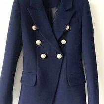 New Balmain Style Navy Blue Blazer Jacket W/gold Lion Buttonss-M  Photo