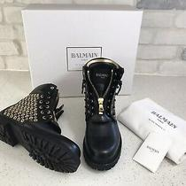 New Balmain Tia Grommet Black Leather Combat  Boots Bottie Ranger 39 S6cbh 03050 Photo