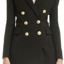 New  Balmain Wool Mix Tuxedo Blazer Dress Marine Gold Tone Buttons Sz 12 44 Fr Photo