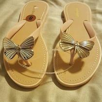New Bamboo Butterfly Thong Flip Flops Sandels Tan Blush Gold Size 8 Women Shoes Photo