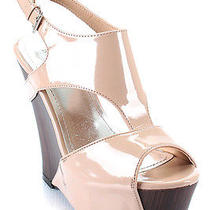New Bamboo 'Rudolf-02' Cut-Out Platform Wedges Blush Nude 8.5 Photo