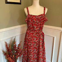 New Banana Republic Factory Floral Tie Waist Ruffle Sleeveless Dress Size 10 Red Photo