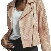 New Banana Republic Womens Heritage Blush Leather Moto Jacket Pink Peach Small Photo