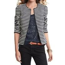 New Banana Republic Womens Tweed Navy White Striped Open Blazer Jacket 8 168 Photo