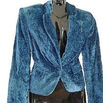 New Bandolino 4 Jacket/blazer Teal Velvet Macy's Embroided Photo