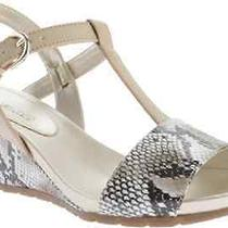 New Bandolino Beige Snake Print Wedge Sandals Size 7 M 69 Photo