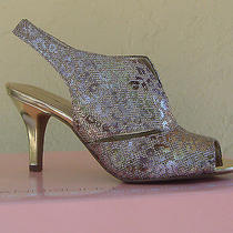 New Bandolino Gold Glitter Fabric Leather Sandals Pumps Size 8.5 M 69 Photo