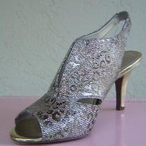 New Bandolino Gold Glitter Fabric Leather Sandals Size 7.5 M 69 Photo