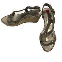 New Bandolino Gold Platform Wedge Sandals Sz 10 Side Buckle Summer Heels Photo