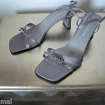 New Bandolino Teens Weddings Satin Strappy Shoes Sandals Grey Sz 10 Hill 2