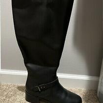 New Bandolino Womens Bdbloema Black Leather Wide-Calf Knee High Riding Boot 8m Photo