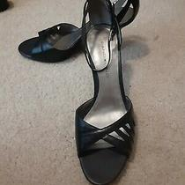 New Bandolino Womens Black Leather Ankle Strap Open Toe Heels Size 7 1/2 M Photo
