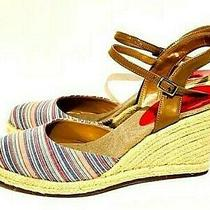 New Bandolino Womens Espadrille Wedges Size 8 Red White Blue Ankle Straps Heels Photo