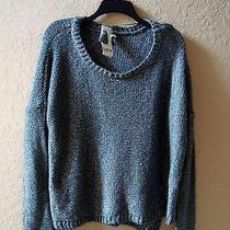 New Bar Iii Womens Grey Shine Cable Sweater Medium Photo