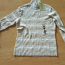 New Basic Elements Cable Knit Turtle Neck Mock Neck Sweater Top Sz Medium Photo