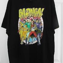 New Bazinga Super Heroes Big Bang Theory Tv Show Men's Black T-Shirt Size Xl Photo