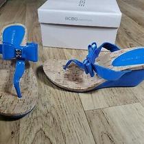New Bcbg Bcbgeneration Bg-Michelle Wedge Sandal Aruba Blue Size 8 Photo