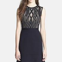 New Bcbg Black Combo Alandra Lace-Trim Fluted-Skirt Dress 4 338 Dfx63b45 Photo