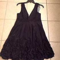 New Bcbg Camilla Black Taffeta Petal Dress Size 6  Photo