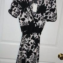 New Bcbg Max Azaria Black White Floral v-Neck Dress Womens Sz Large  Photo